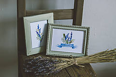 Obrázky - Bylinky - predané (Levandule v zelených rámoch (2ks)) - 9145312_