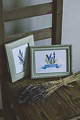 Obrázky - Bylinky - predané (Levandule v zelených rámoch (2ks)) - 9145315_