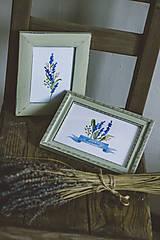 Obrázky - Bylinky - predané (Levandule v zelených rámoch (2ks)) - 9145316_