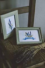 Obrázky - Bylinky - predané (Levandule v zelených rámoch (2ks)) - 9145325_