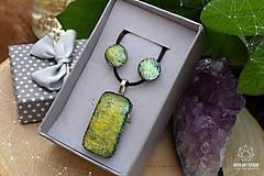 Sady šperkov - Zlato-zelená sada sklenených šperkova - 9144419_
