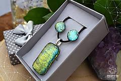 Sady šperkov - Zlato-zelená sada sklenených šperkova - 9144420_