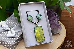 Sady šperkov - Zlato-zelená sada sklenených šperkova - 9144421_