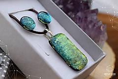 Sady šperkov - Zlato-zelená sada sklenených šperkova - 9144422_