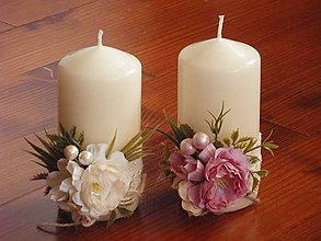Svietidlá a sviečky - Vintage sviečky staroružová a ivory - 9145202_