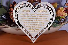 Darčeky pre svadobčanov - Poďakovanie Rodičom srdce vyrezávané 4 - 9144457_