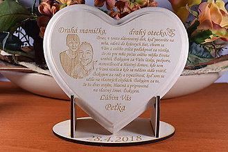 Darčeky pre svadobčanov - Poďakovanie Rodičom srdce lipove z fotografiou  - 9145507_
