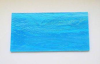 Suroviny - Sklo pruhované, tyrkysové, modro biele, zn. Bullseye - 9150390_