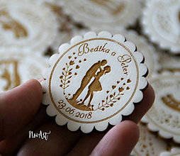 Darčeky pre svadobčanov - Svadobné magnetky Ľúbime sa - 9153391_