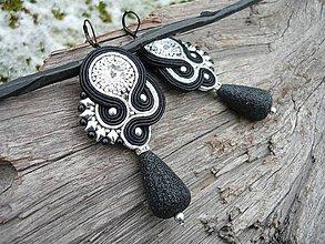 Náušnice - Soutache náušnice Black&Silver - 9153235_
