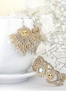 Sady šperkov - sada NEFERTITI (svadobné náušnice a svadobný náramok - Ag 925) - 9152393_