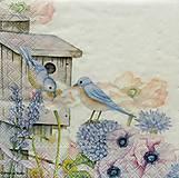 - S1158 - Servítky - búdka, vtáčik, maky, poppies, pastelové, jar, kvietky - 9151727_