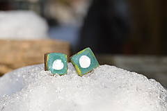 Náušnice - Náušnice zelené - azúrové štvorce :o)) - 9151248_