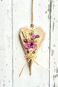 Dekorácie - Srdiečko so sušenými rastlinami - 9151738_