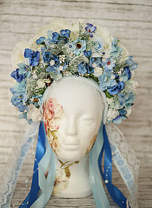 Ozdoby do vlasov - Modro-krémová kvetinová bohato zdobená folk parta - 9151850_