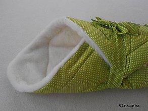 Textil - RUNO SHOP Zavinovačka pre bábätka/ miminká 100% Merino Top BODKA zelená - 9151175_