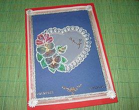 Papiernictvo - pohľadnica srdiečko a kvety - 9152495_
