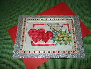 Papiernictvo - pohľadnica  vyšívané srdiečka - 9152541_