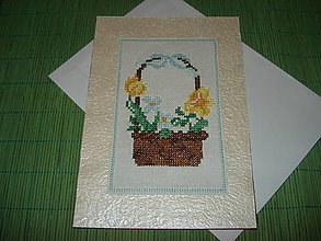 Papiernictvo - pohľadnica - košík plný kvetov - 9152944_