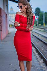 Šaty - S holými ramenami červené. - 9150037_