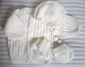 Detské súpravy - Novorodenecká pletená súprava - 9149831_