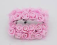 KT101 Penové ružičky s perličkou 2 cm / 12 kusov (Svetlo ružová)