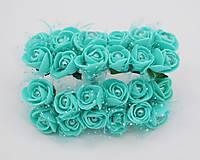 KT101 Penové ružičky s perličkou 2 cm / 12 kusov (Mentolová / tyrkysová)