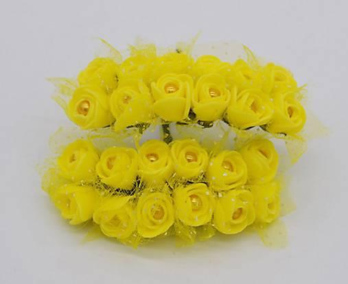 KT101 Penové ružičky s perličkou 2 cm / 12 kusov (Žltá)