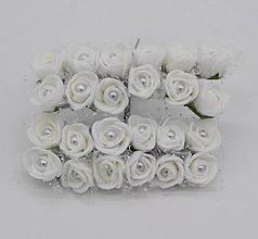 Polotovary - KT101 Penové ružičky s perličkou 2 cm / 12 kusov (Biela) - 9153046_