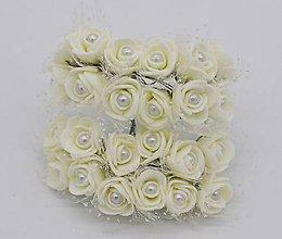Polotovary - KT101 Penové ružičky s perličkou 2 cm / 12 kusov (Krémová) - 9153047_