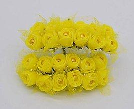 Polotovary - KT101 Penové ružičky s perličkou 2 cm / 12 kusov (Žltá) - 9153049_