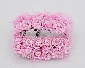 Polotovary - KT101 Penové ružičky s perličkou 2 cm / 12 kusov (Svetlo ružová) - 9153050_