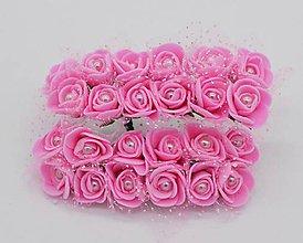 Polotovary - KT101 Penové ružičky s perličkou 2 cm / 12 kusov (Tmavo ružová) - 9153053_