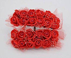 Polotovary - KT101 Penové ružičky s perličkou 2 cm / 12 kusov (Červená) - 9153058_