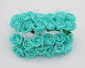 Polotovary - KT101 Penové ružičky s perličkou 2 cm / 12 kusov (Mentolová / tyrkysová) - 9153059_