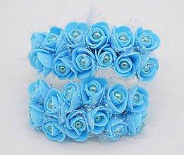 Polotovary - KT101 Penové ružičky s perličkou 2 cm / 12 kusov (Modrá) - 9153060_