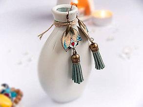 Náušnice - Náušnice: Zvonček so strapcom (9,5 cm - Tyrkysová) - 9152161_