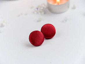 Náušnice - Náušnice napichovacie textilné 22 mm (Červené saténové) - 9152558_