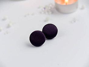 Náušnice - Náušnice napichovacie textilné 22 mm (Tmavofialové saténové) - 9152559_