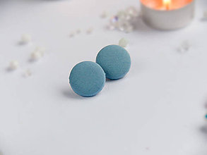 Náušnice - Náušnice napichovacie textilné 22 mm (Modré matné) - 9152564_