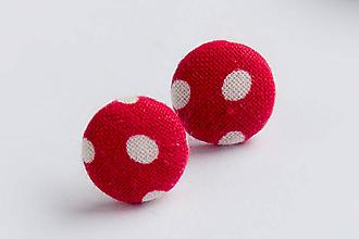 Náušnice - Napichovacie náušnice 16 mm (Červené bodkované) - 9152604_