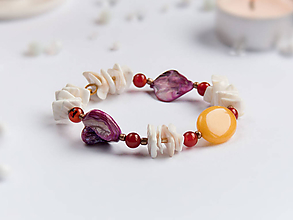Náramky - Náramok: Jadeit, karneol,perleť - 9153354_