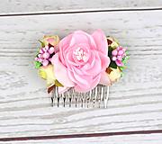 Ozdoby do vlasov - Hrebienok ružovo-zelený ruža - 9150401_