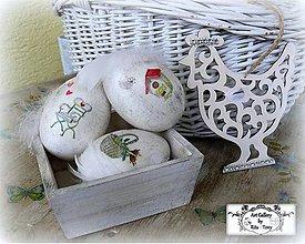 Dekorácie - 3x kraslice s praslinkami+sliepočka v bedničke :) - 9150086_