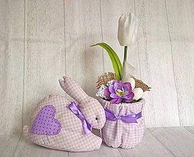 Dekorácie - Sada zajko + tulipán (Fialová) - 9153525_
