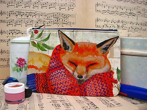 Taštička na mobil - Zachumlaná liška