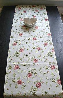 Úžitkový textil - Obrus - štóla ruže 45 x 140 (ružové ruže) - 9151142_