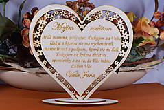 Darčeky pre svadobčanov - Poďakovanie Rodičom srdce vyrezávané 5 - 9152118_
