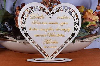 Darčeky pre svadobčanov - Poďakovanie Rodičom srdce vyrezávané 6 - 9152123_