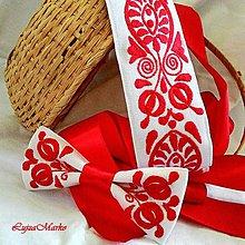 Doplnky - Slovenské mamičky motýlik (Biela-červená) - 9152289_